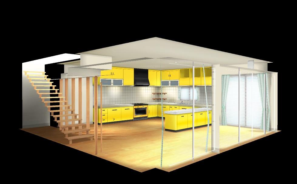 3D キッチン ハニブレ